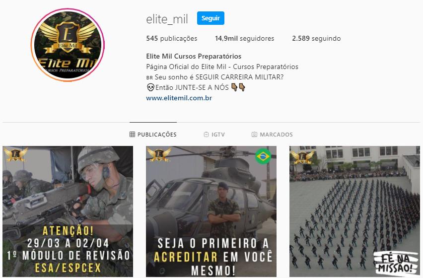Perfil Oficial do Curso Elite Mil no Instagram